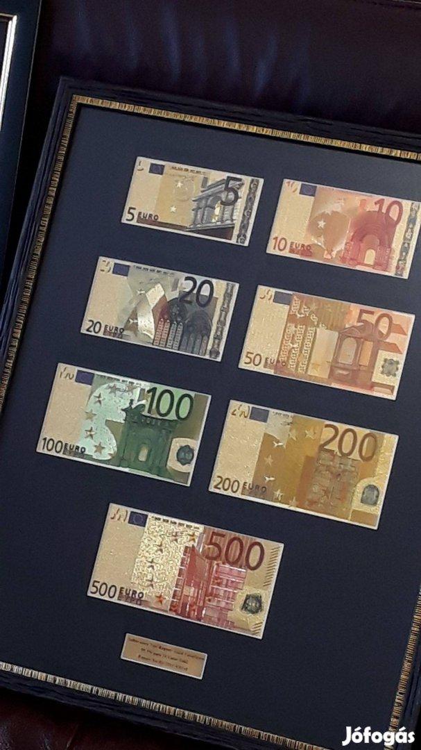 Exkluzív 24 kt Arany EURO és Dollár Full Szettek, Luxus Ajándék