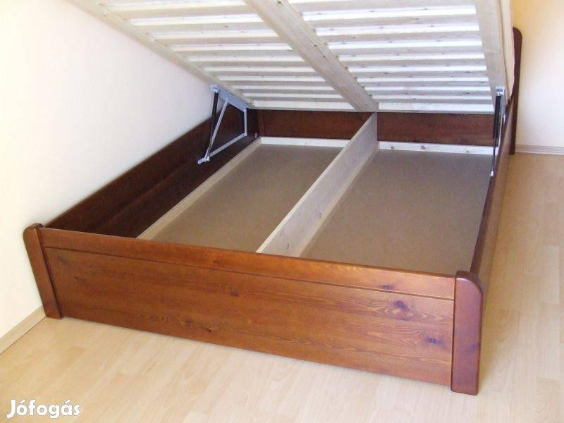 Felnyílókeretes bükkfa ágykeret, zárt ágyneműtartós,pácos,Bp.Lurdy Ház, 3. Kép