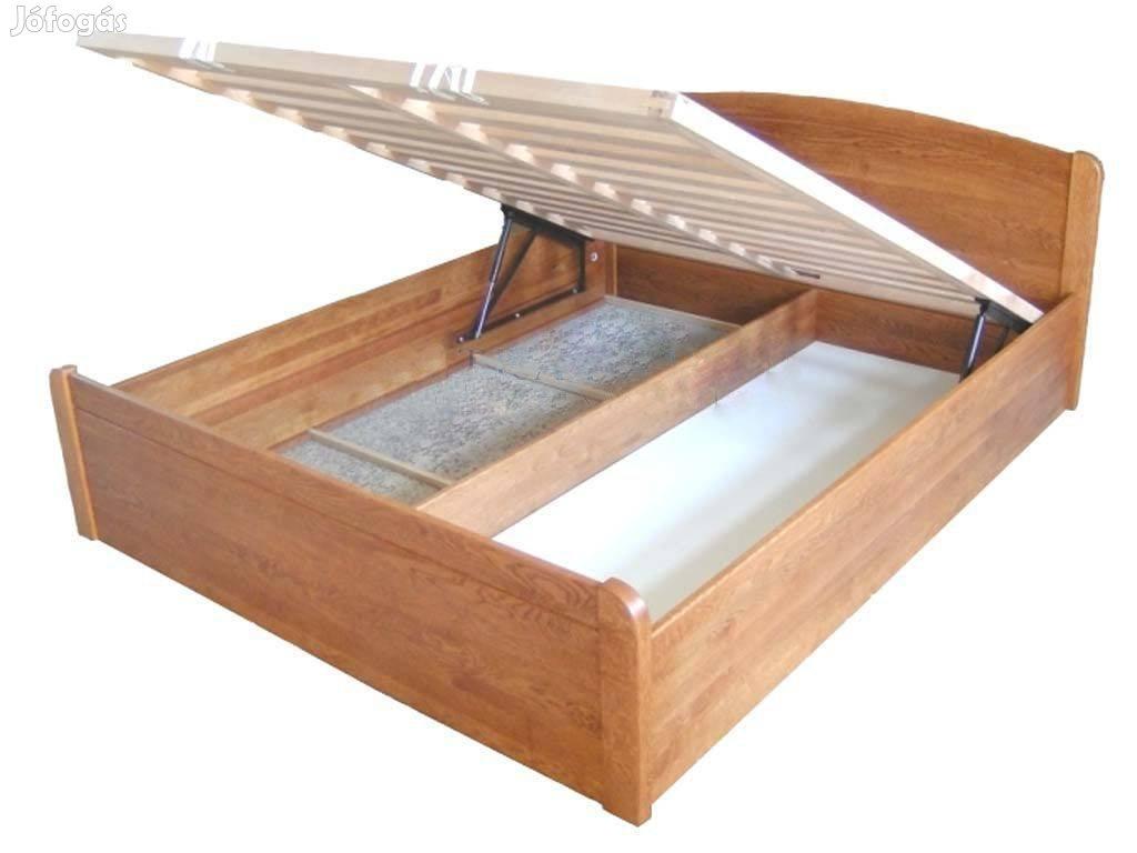 Felnyílókeretes bükkfa ágykeret, zárt ágyneműtartós,pácos,Bp.Lurdy Ház, 2. Kép