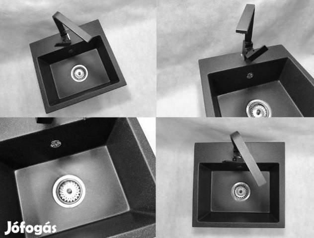 Gránit Mosogató Nero N452 45 x 42 cm + Csaptelep + Szifon