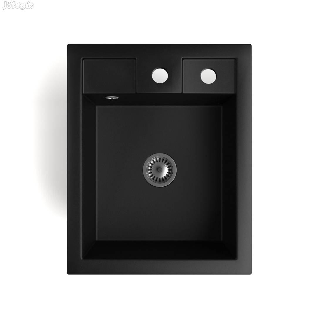 Gránit Mosogató Nero Parma + Design csaptelep + adagoló + szifon (matt