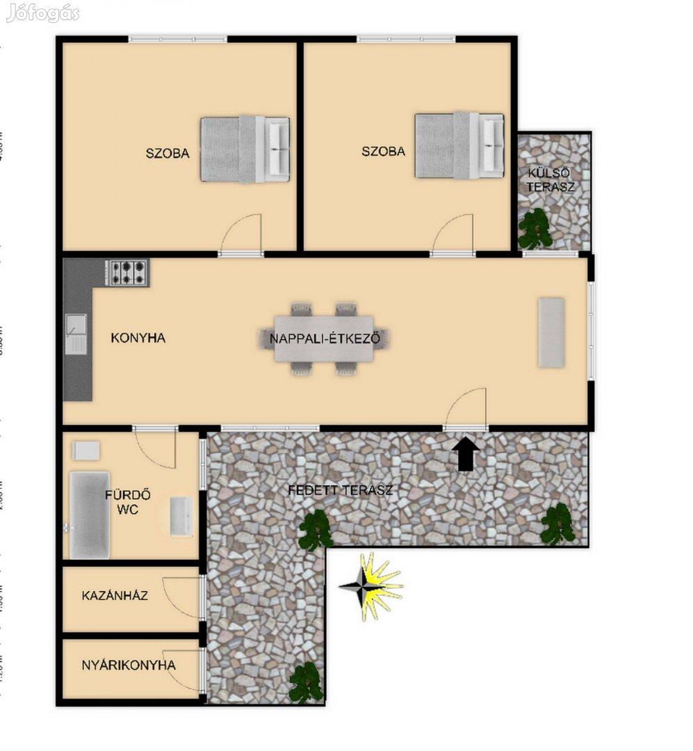 Kiskunhalason 2 szobás amerikaikonyhás, igényes családi ház eladó!