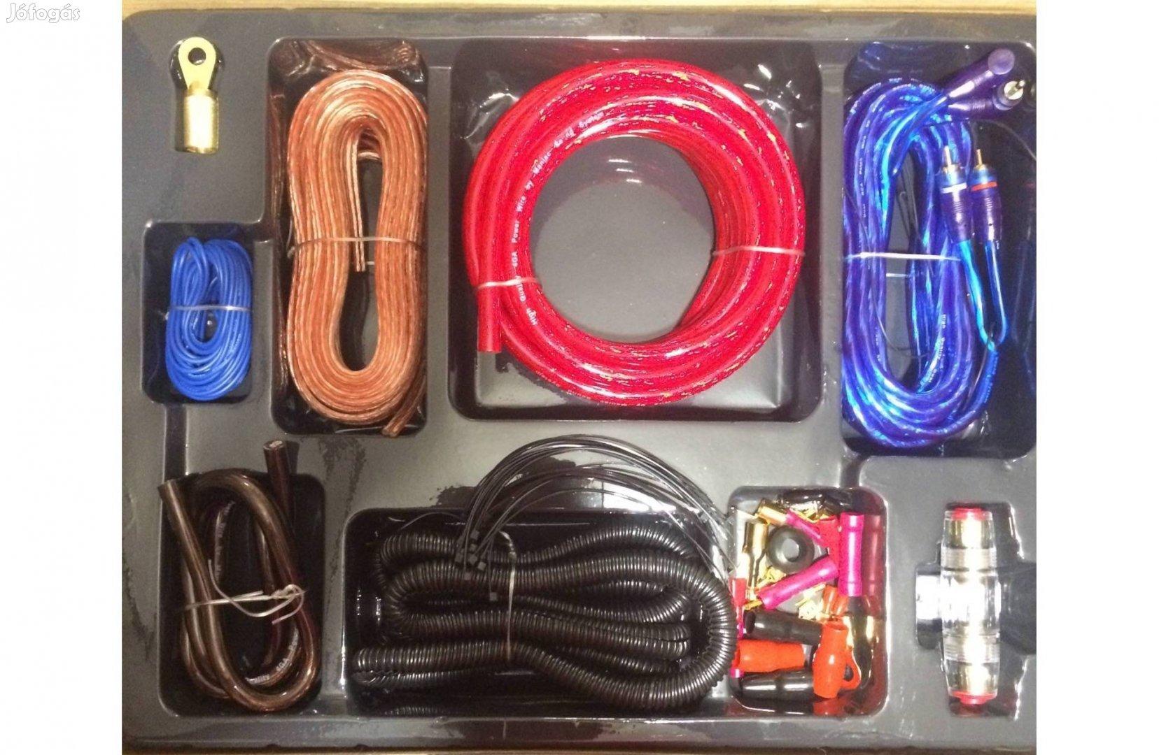 Komplett 80A aranyozott autó hifi kábel szett erősítő bekötéshez