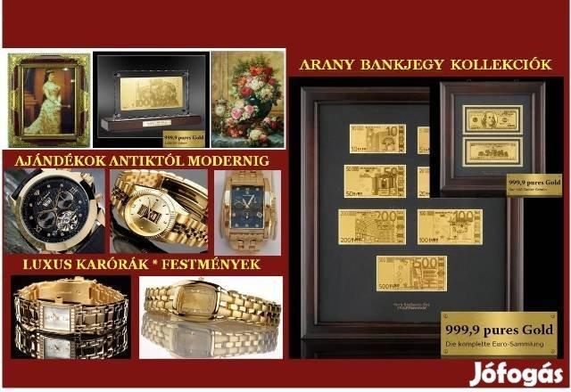 Luxus Ajándék Választék: Arany Bankjegy Kollekciók, Óra, Festmény, stb