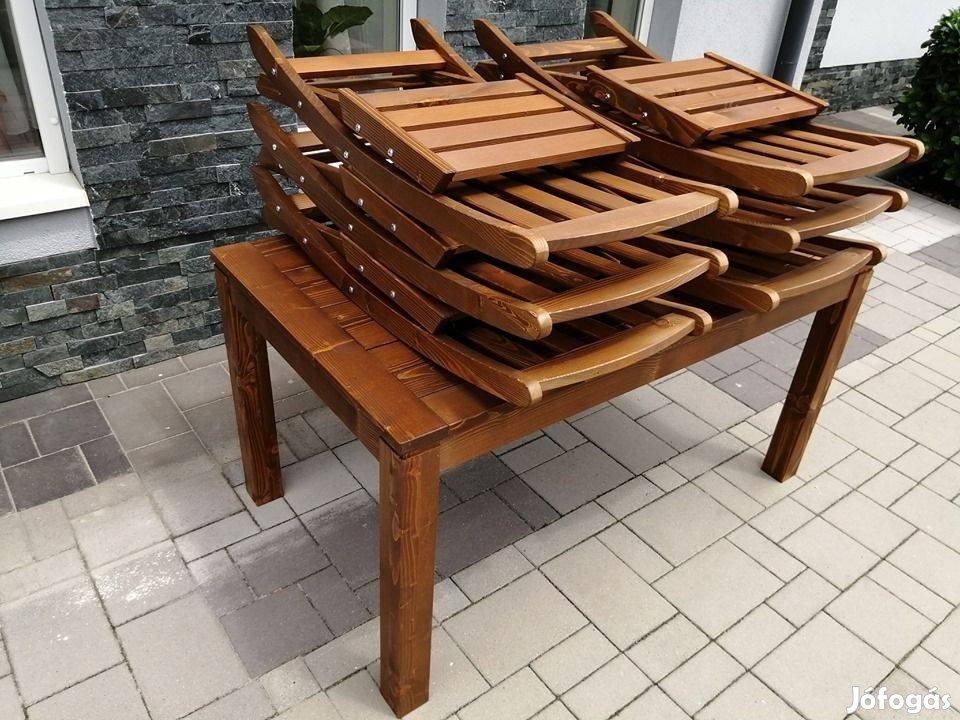 Masszív terasz garnitúra összecsukható székekkel