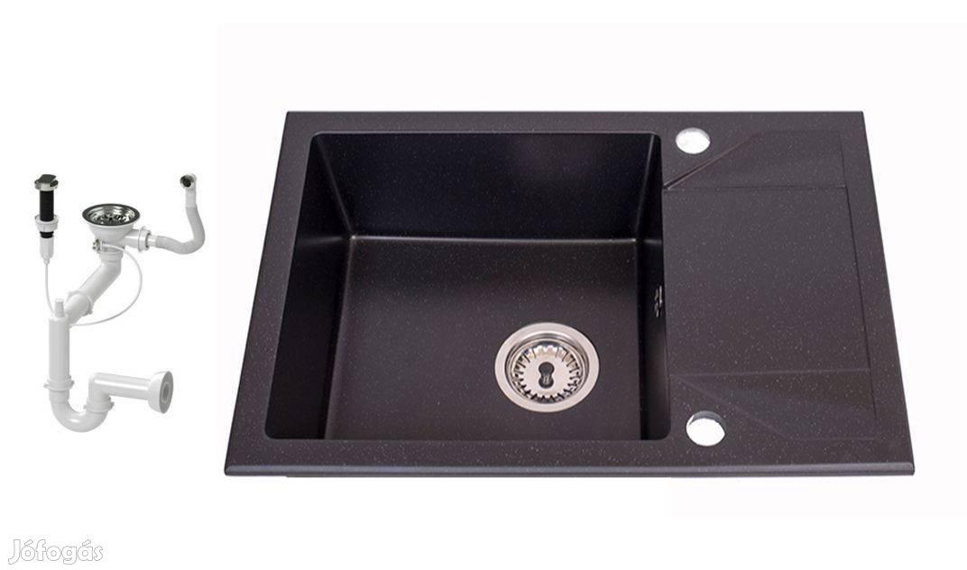 Nero Adria Gránit Mosogató 63 x 43 cm + Design Csap + Dugóemelő