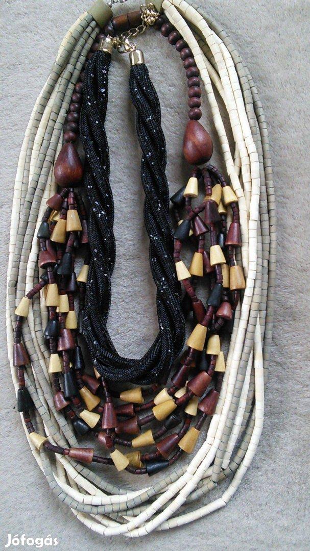 Nyaklánc fa fagyöngy barna fekete női bizsu gyöngy lánc