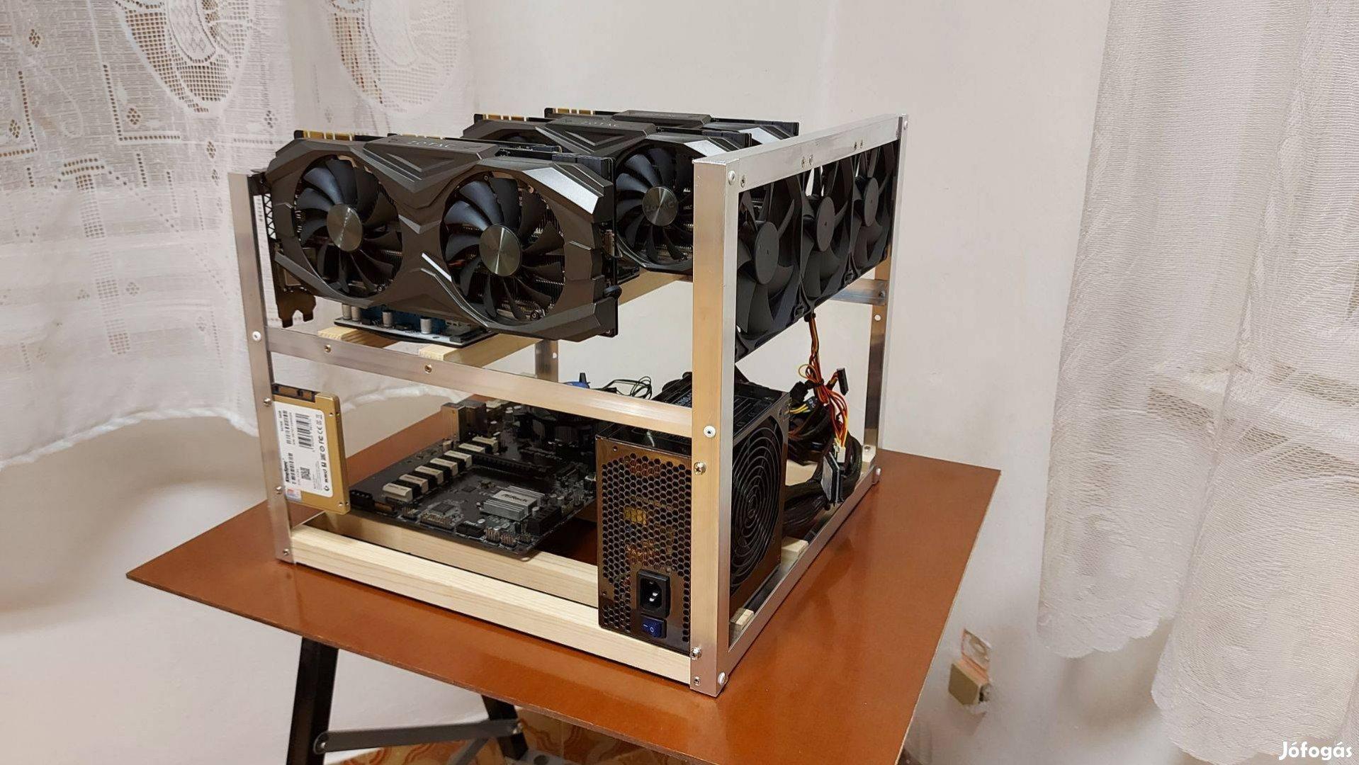 Profi Minőség! - RIG bányász gép keret 4 VGA (+2 a lapon=6) készen van