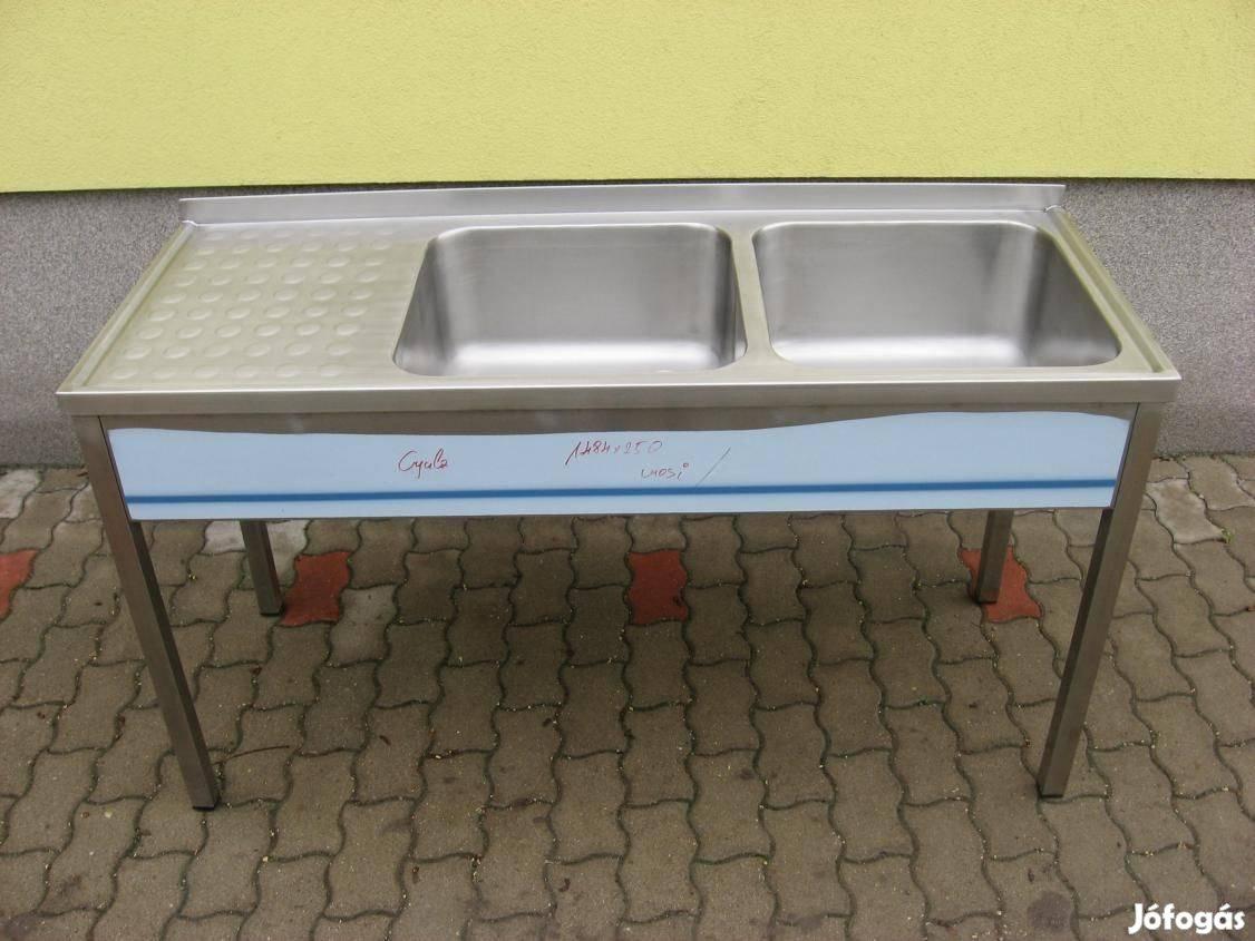 Rozsdamentes ipari mosogató 2 medence + csepegtetős eladó