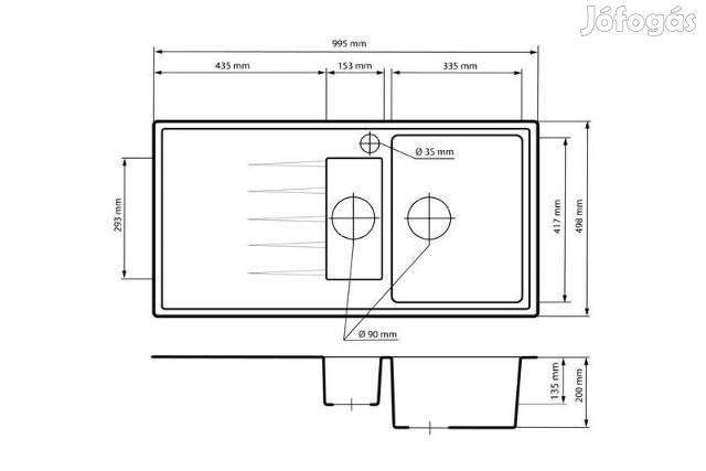 Solarys Gránit mosogató + Csap + Dugóemelő - Adagoló 100 x 50cm -