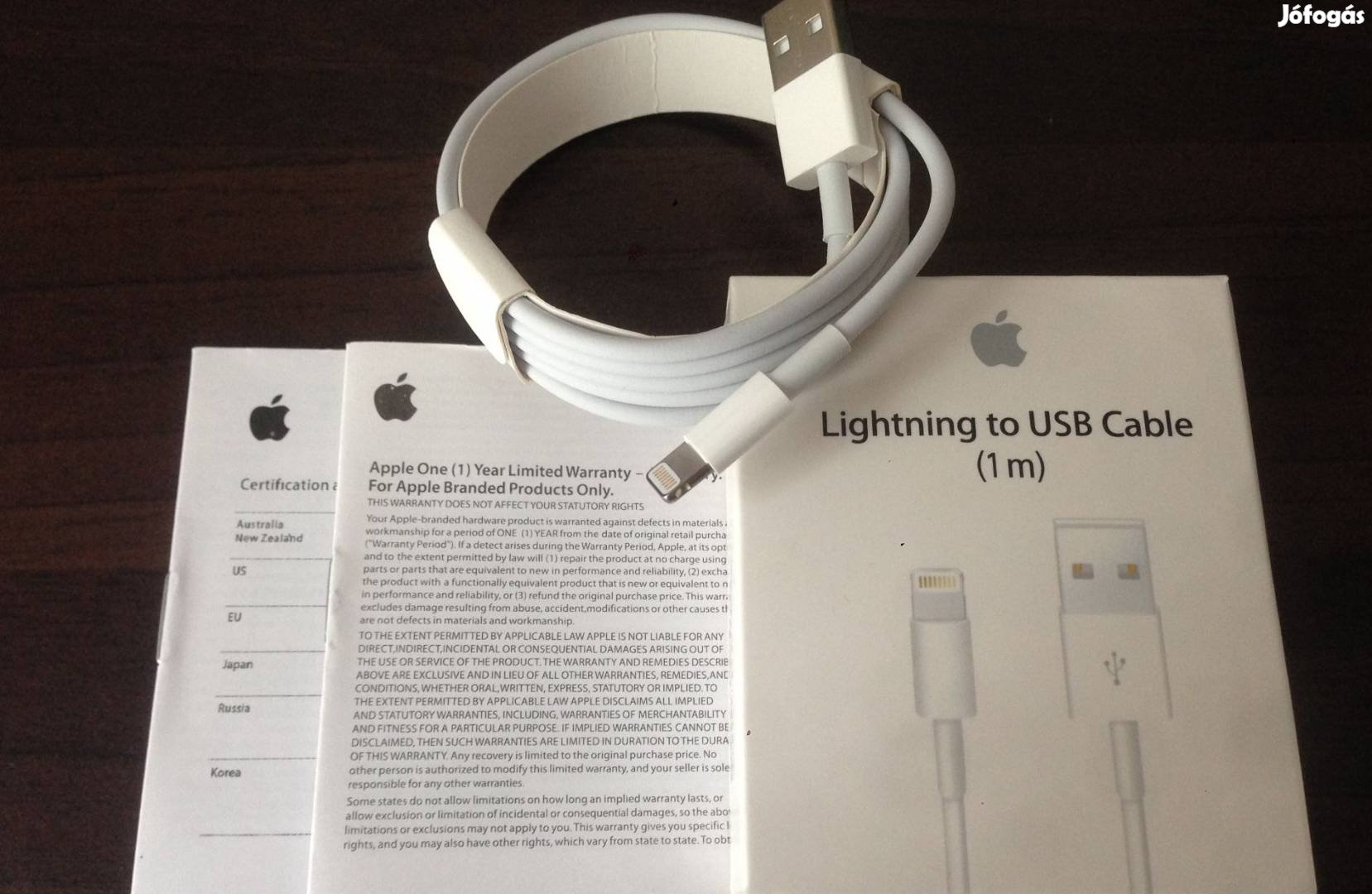 Új Apple Iphone, Ipod, Ipad Lightning USB kábel (1m), 1. Kép