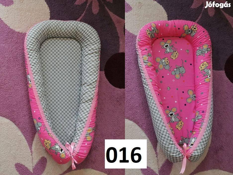 Új babafészek, 100%pamut, kifordítható, mosható pink egér-szürke