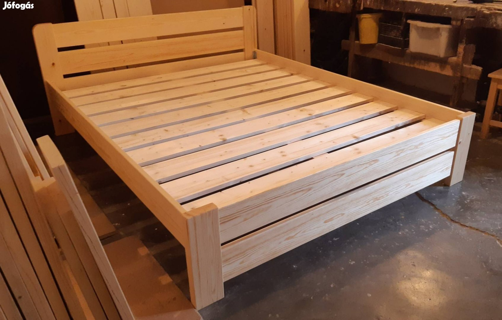 Új erős strapabíró fenyő franciaágy fa ágykeret ágyráccsal+szállítás
