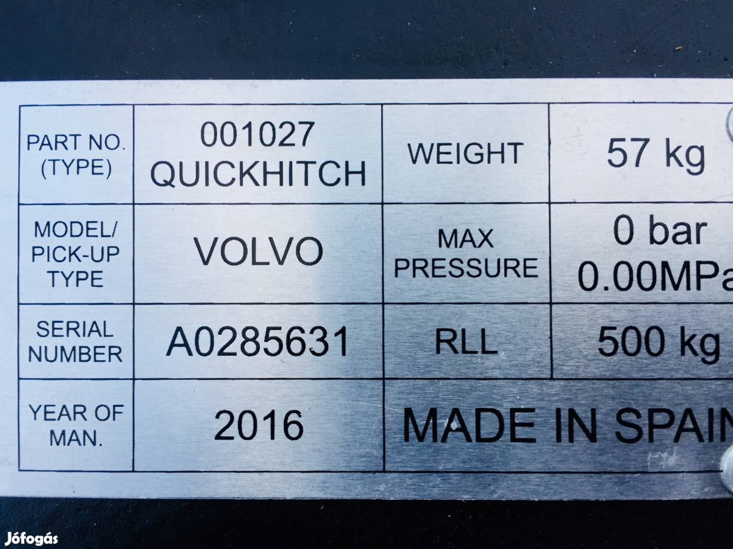 Volvo BL Új Gyorscsatlakozó Kanál Gyorscserélő