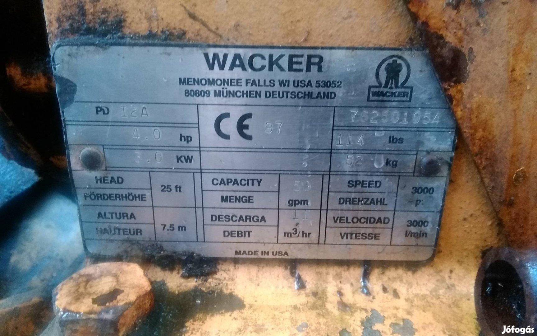 Wacker membrán szivattyú eladó