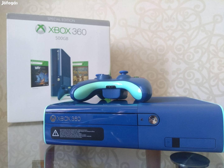 Xbox 360 E slim Limitált! Kék 500GB dobozos Rgh! 83 játékkal! xbox360