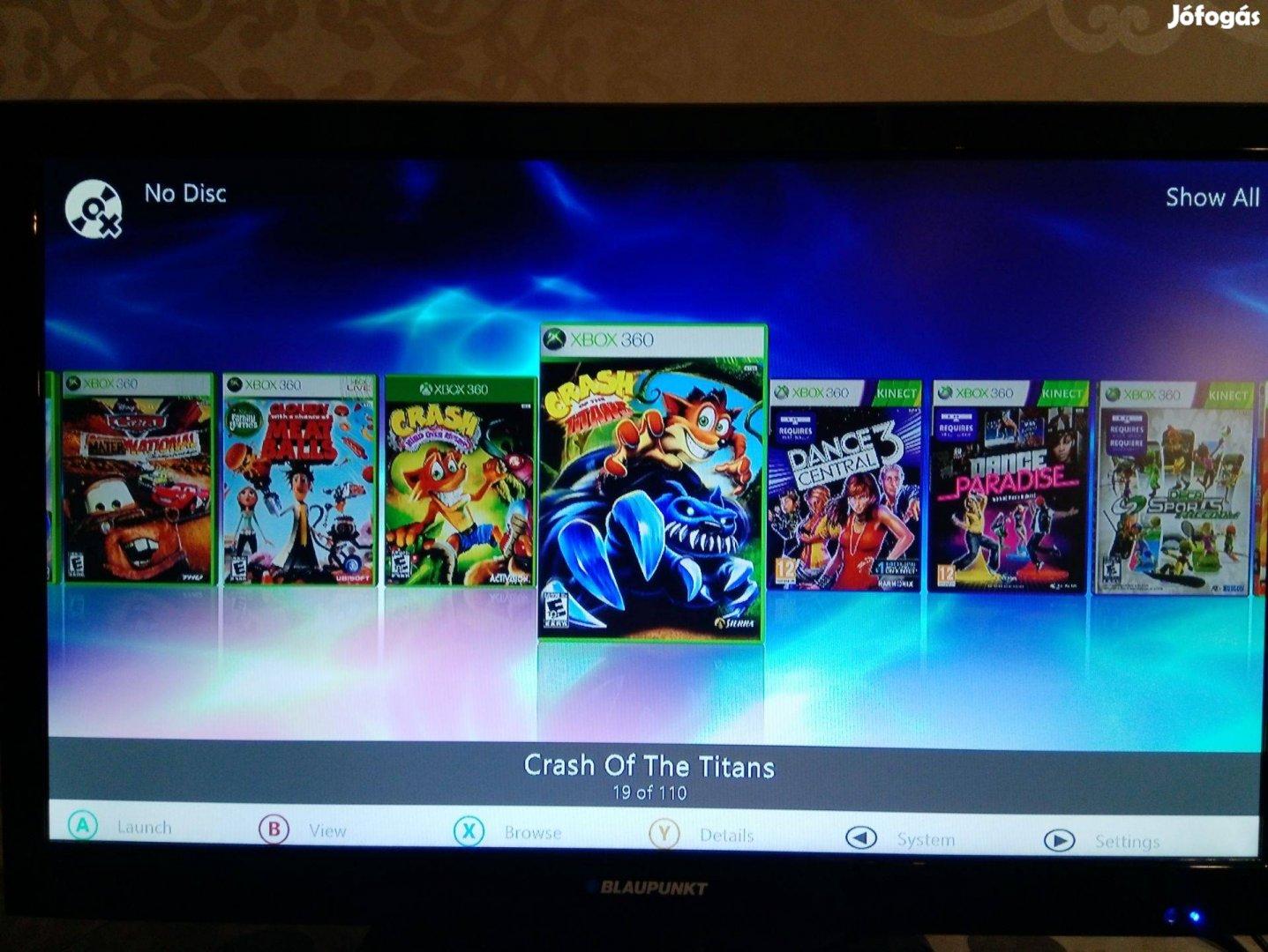 Xbox 360 S slim komplett Gyerek/családi pakk Rgh! 110 játék! Kinect