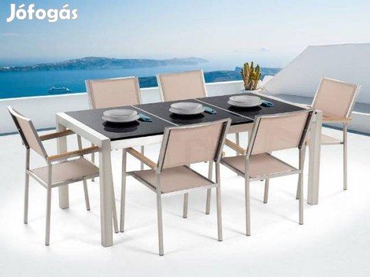 Kerti bútor szett - Polírozott fekete gránit asztallap 180 cm - 6 db 8b748526c2